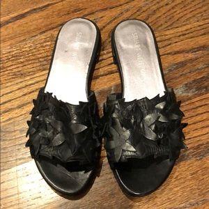 Stuart Weitzman black floral appliqué slide sandal